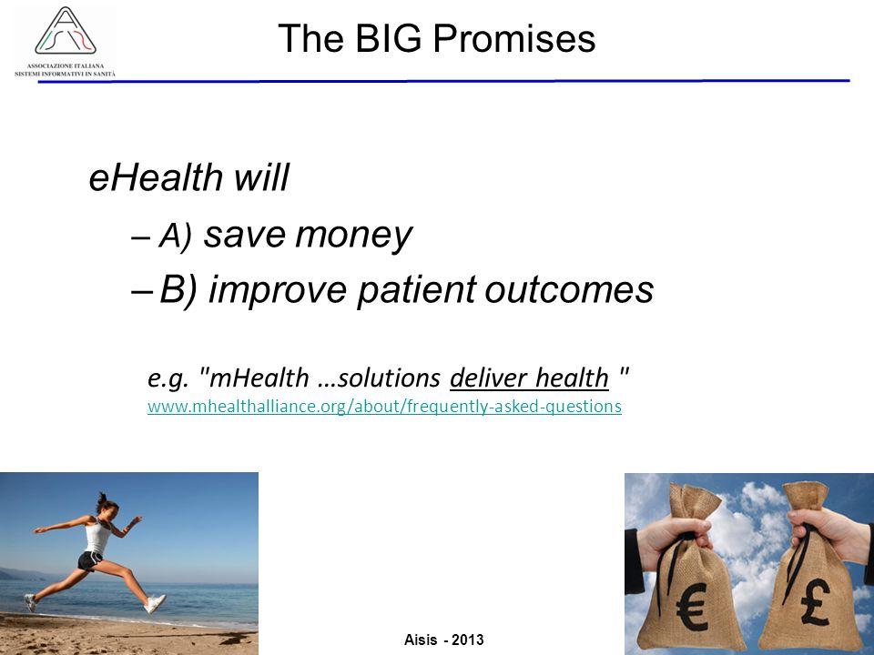 Aisis - 2013 Associazione Italiana Sistemi Informativi in Sanità Valutazione del Valore derivante dallutilizzo di ICT in Sanità eHealth will –A) save