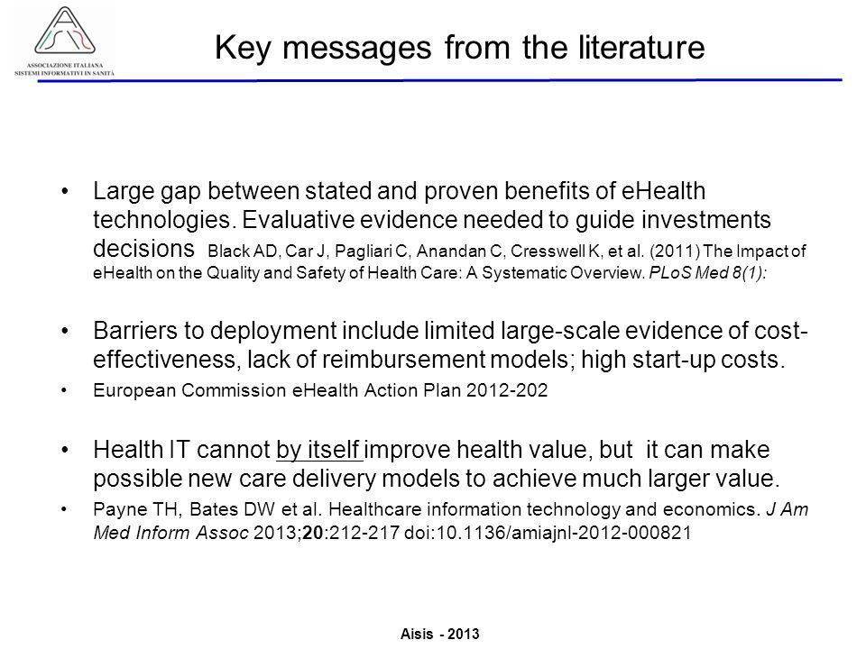 Aisis - 2013 Associazione Italiana Sistemi Informativi in Sanità Valutazione del Valore derivante dallutilizzo di ICT in Sanità Large gap between stat
