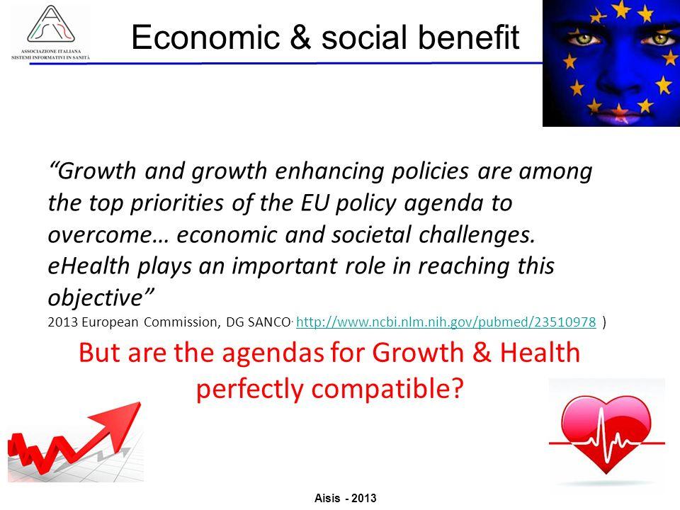 Aisis - 2013 Associazione Italiana Sistemi Informativi in Sanità Valutazione del Valore derivante dallutilizzo di ICT in Sanità Growth and growth enha