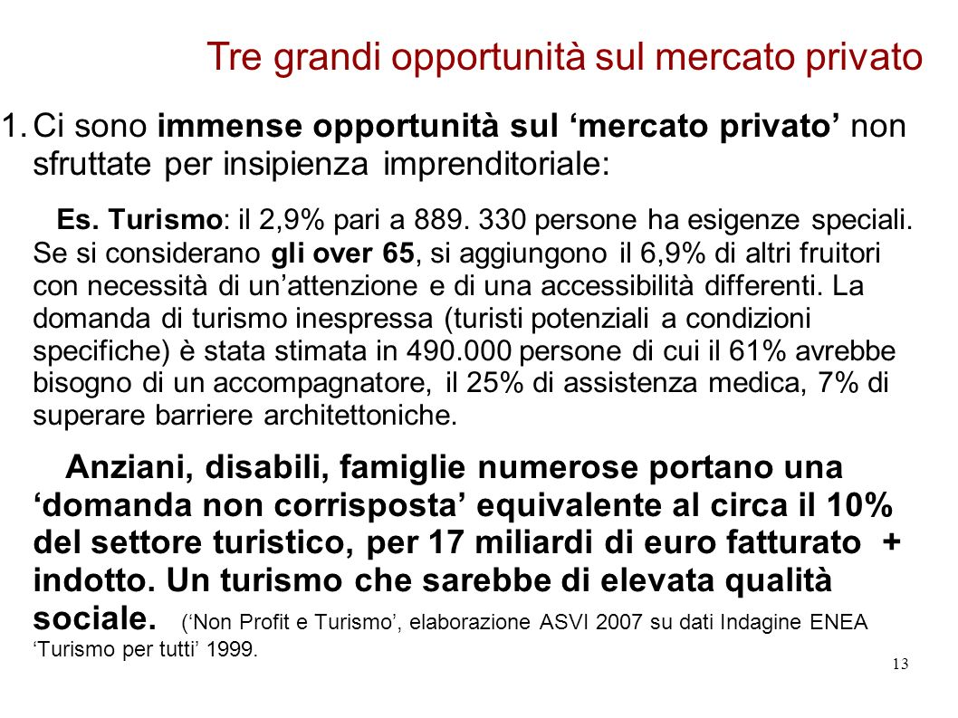 1.Ci sono immense opportunità sul mercato privato non sfruttate per insipienza imprenditoriale: Es.