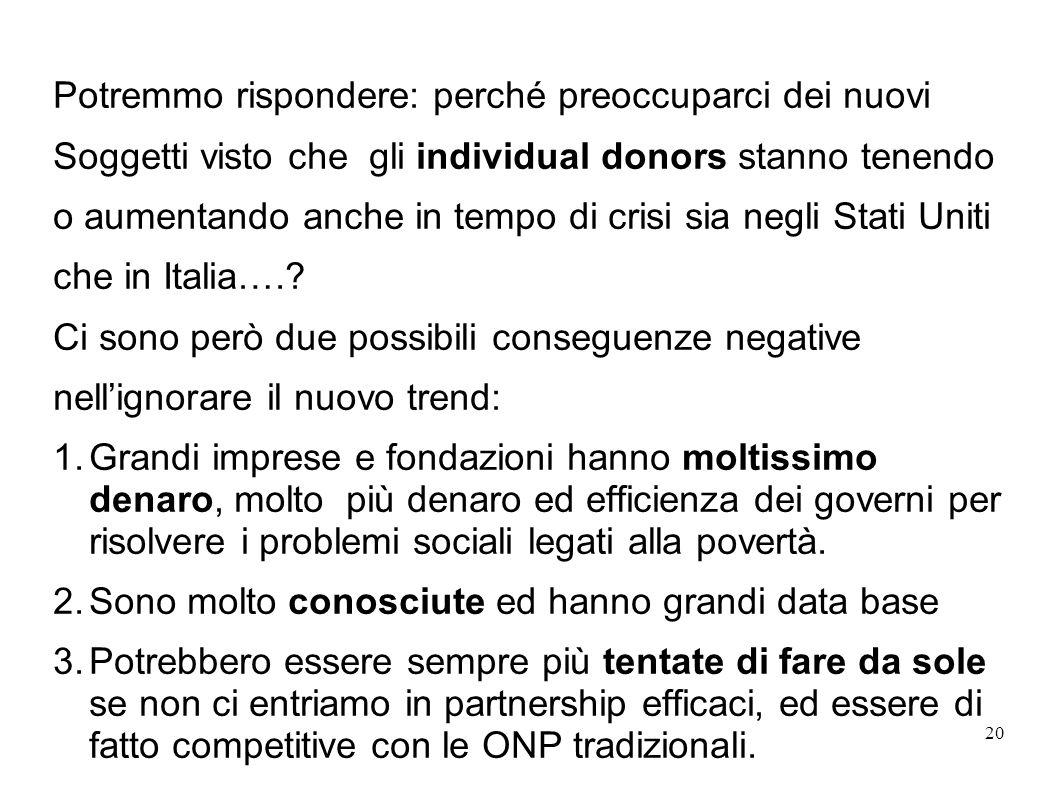 Potremmo rispondere: perché preoccuparci dei nuovi Soggetti visto che gli individual donors stanno tenendo o aumentando anche in tempo di crisi sia negli Stati Uniti che in Italia…..