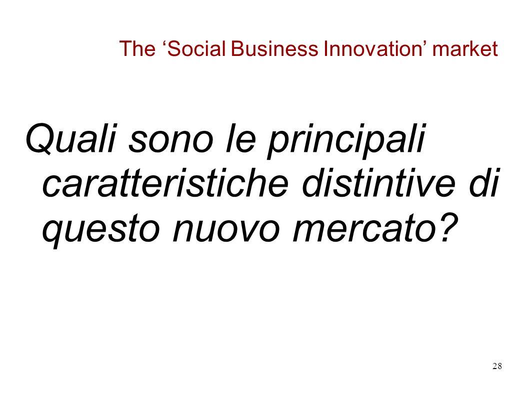 The Social Business Innovation market Quali sono le principali caratteristiche distintive di questo nuovo mercato.