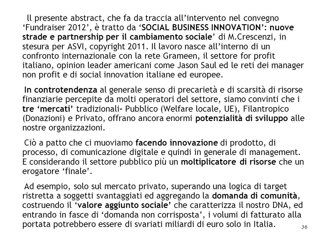 ll presente abstract, che fa da traccia allintervento nel convegnoFundraiser 2012, è tratto da SOCIAL BUSINESS INNOVATION: nuove strade e partnership per il cambiamento sociale di M.Crescenzi, in stesura per ASVI, copyright 2011.