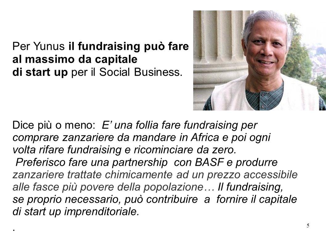 5 Outlines Per Yunus il fundraising può fare al massimo da capitale di start up per il Social Business.