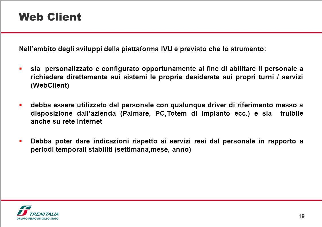 19 Web Client Nellambito degli sviluppi della piattaforma IVU è previsto che lo strumento: sia personalizzato e configurato opportunamente al fine di