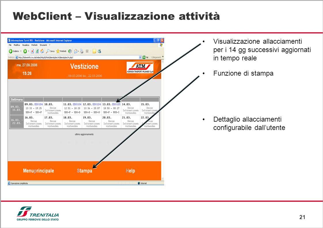 21 WebClient – Visualizzazione attività Visualizzazione allacciamenti per i 14 gg successivi aggiornati in tempo reale Funzione di stampa Dettaglio al