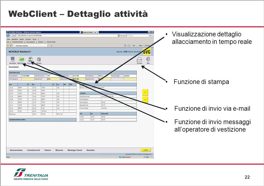 22 WebClient – Dettaglio attività Visualizzazione dettaglio allacciamento in tempo reale Funzione di stampa Funzione di invio via e-mail Funzione di i