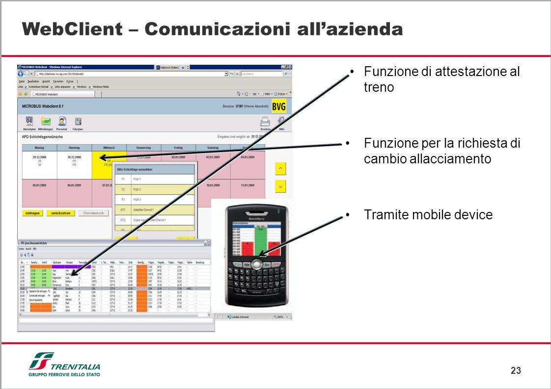 23 WebClient – Comunicazioni allazienda Funzione di attestazione al treno Funzione per la richiesta di cambio allacciamento Tramite mobile device