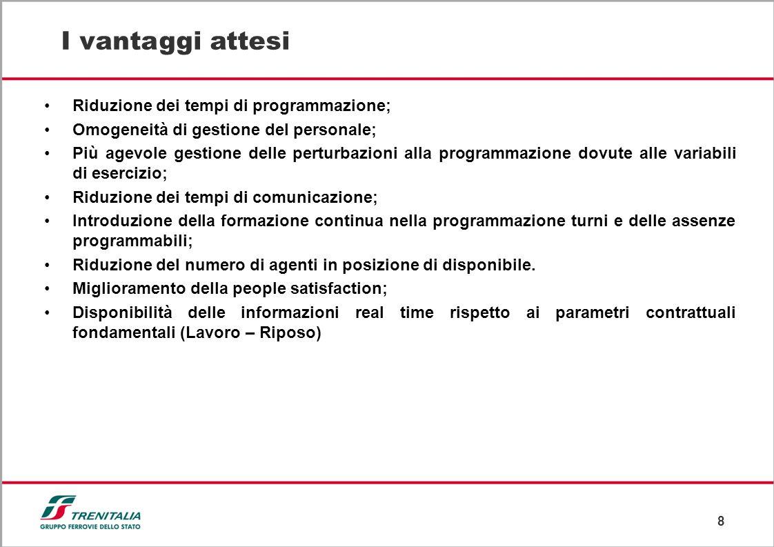 8 I vantaggi attesi Riduzione dei tempi di programmazione; Omogeneità di gestione del personale; Più agevole gestione delle perturbazioni alla program