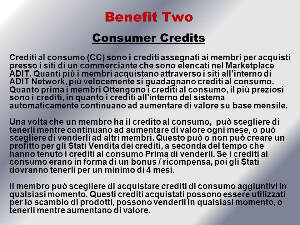 Benefit Two Consumer Credits Crediti al consumo (CC) sono i crediti assegnati ai membri per acquisti presso i siti di un commerciante che sono elencati nel Marketplace ADIT.