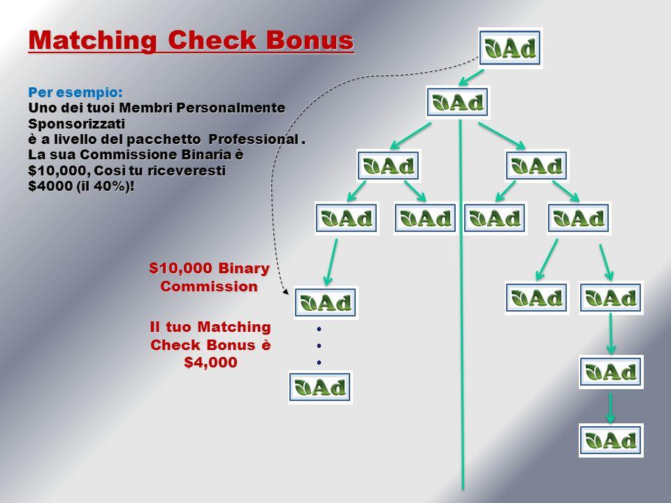 $10,000 Binary Commission Matching Check Bonus Per esempio: Uno dei tuoi Membri Personalmente Sponsorizzati è a livello del pacchetto Professional.