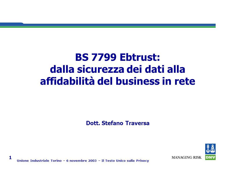 Unione Industriale Torino – 6 novembre 2003 – Il Testo Unico sulla Privacy 1 Strategic fit Dott.