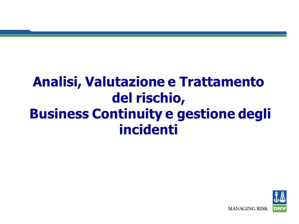 Analisi, Valutazione e Trattamento del rischio, Business Continuity e gestione degli incidenti