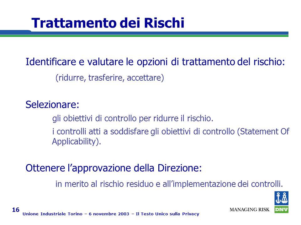 Unione Industriale Torino – 6 novembre 2003 – Il Testo Unico sulla Privacy 16 Trattamento dei Rischi Identificare e valutare le opzioni di trattamento del rischio: (ridurre, trasferire, accettare) Selezionare: gli obiettivi di controllo per ridurre il rischio.