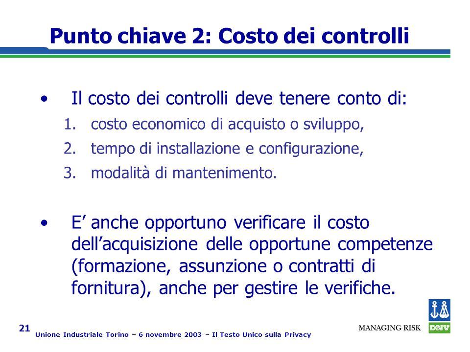 Unione Industriale Torino – 6 novembre 2003 – Il Testo Unico sulla Privacy 21 Punto chiave 2: Costo dei controlli Il costo dei controlli deve tenere conto di: 1.costo economico di acquisto o sviluppo, 2.tempo di installazione e configurazione, 3.modalità di mantenimento.