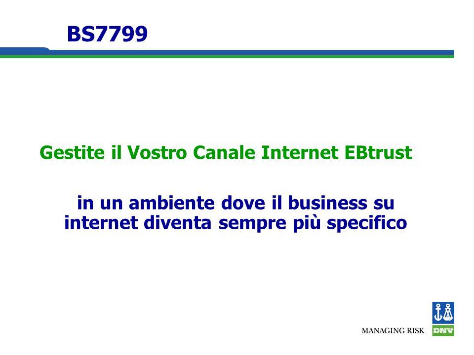Gestite il Vostro Canale Internet EBtrust in un ambiente dove il business su internet diventa sempre più specifico BS7799
