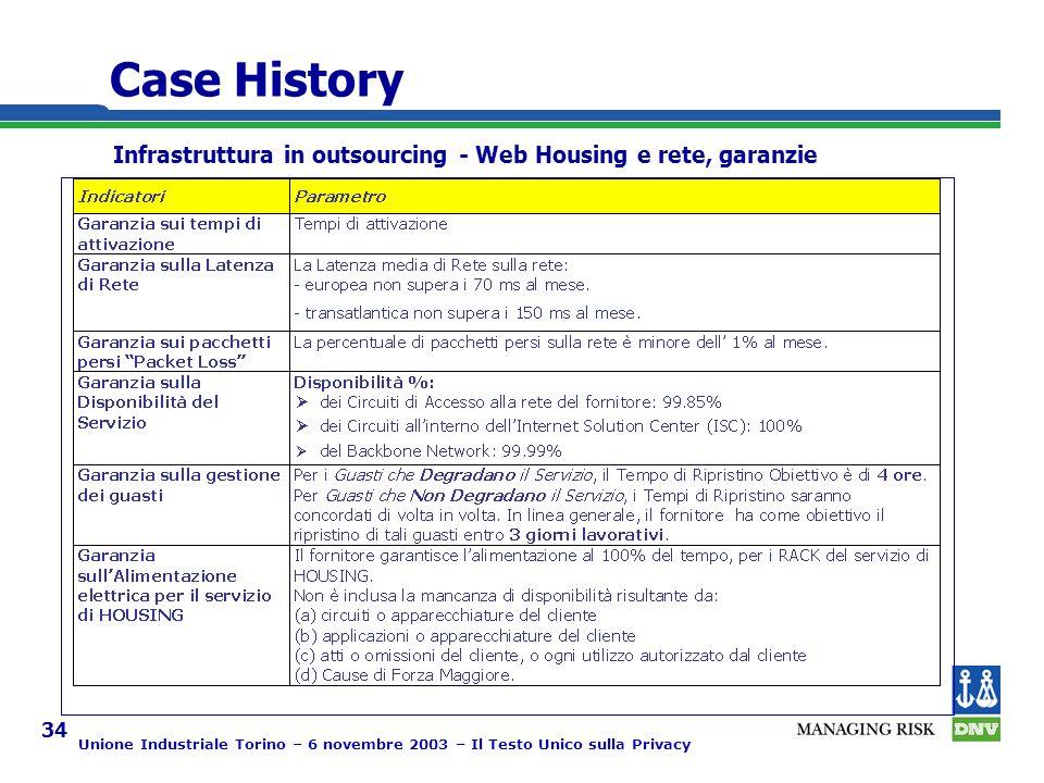Unione Industriale Torino – 6 novembre 2003 – Il Testo Unico sulla Privacy 34 Case History Infrastruttura in outsourcing - Web Housing e rete, garanzie
