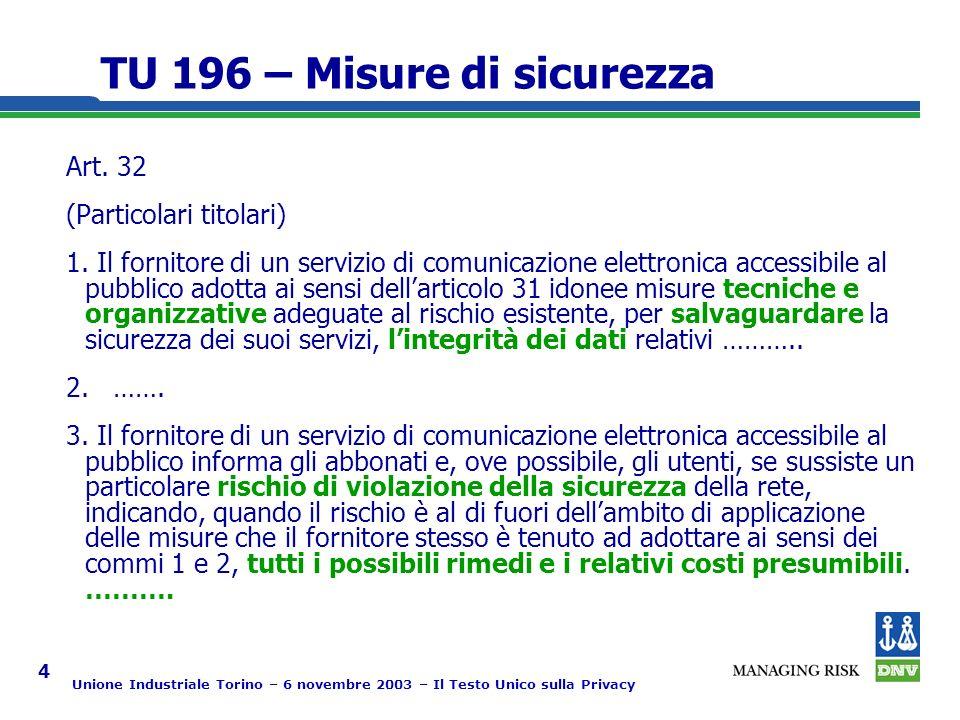 Unione Industriale Torino – 6 novembre 2003 – Il Testo Unico sulla Privacy 4 TU 196 – Misure di sicurezza Art.