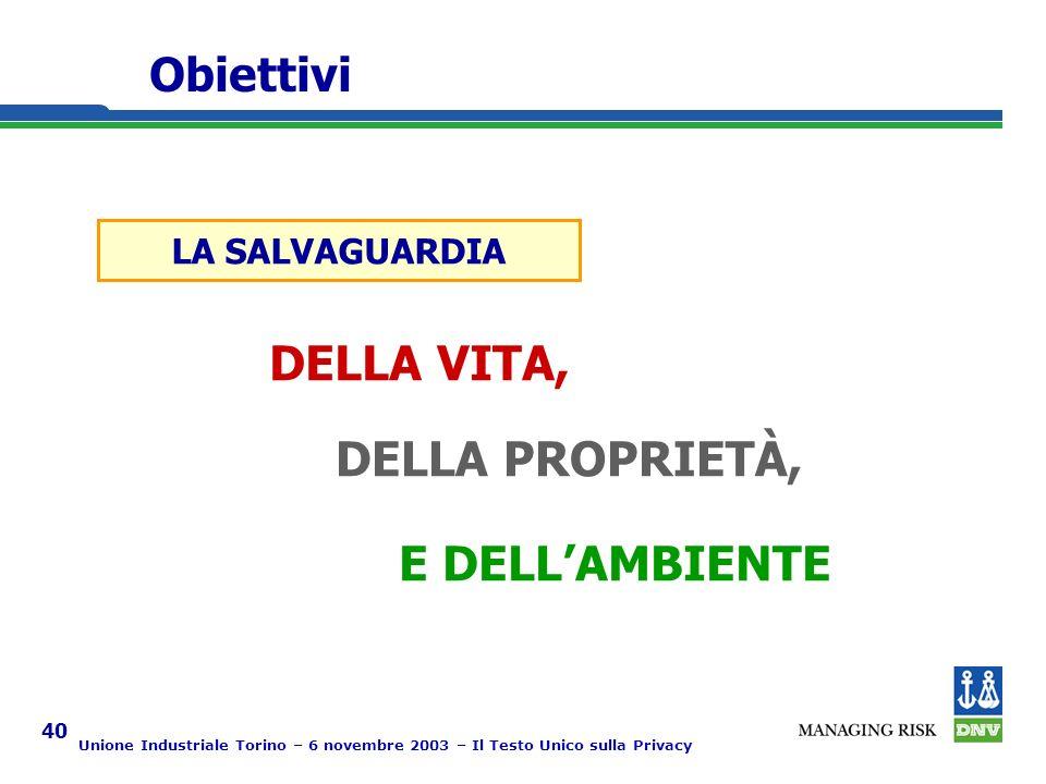 Unione Industriale Torino – 6 novembre 2003 – Il Testo Unico sulla Privacy 40 Obiettivi LA SALVAGUARDIA DELLA VITA, DELLA PROPRIETÀ, E DELLAMBIENTE