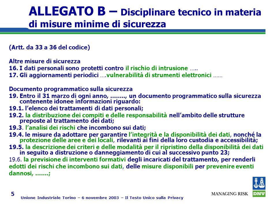 Unione Industriale Torino – 6 novembre 2003 – Il Testo Unico sulla Privacy 5 ALLEGATO B – Disciplinare tecnico in materia di misure minime di sicurezza (Artt.