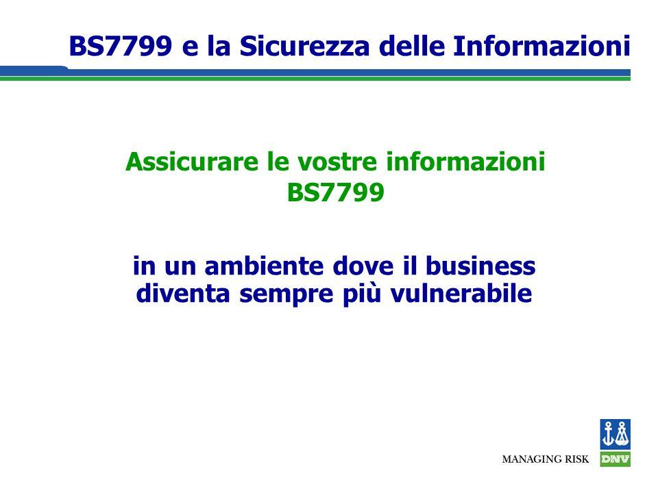 Assicurare le vostre informazioni BS7799 in un ambiente dove il business diventa sempre più vulnerabile BS7799 e la Sicurezza delle Informazioni