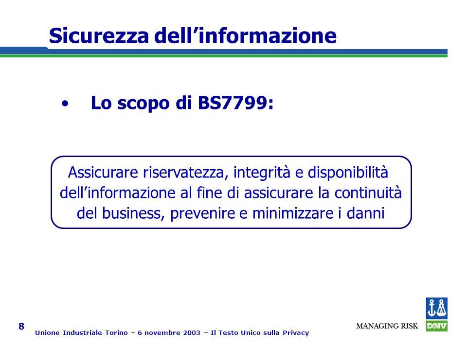 Unione Industriale Torino – 6 novembre 2003 – Il Testo Unico sulla Privacy 8 Sicurezza dellinformazione Lo scopo di BS7799: Assicurare riservatezza, integrità e disponibilità dellinformazione al fine di assicurare la continuità del business, prevenire e minimizzare i danni