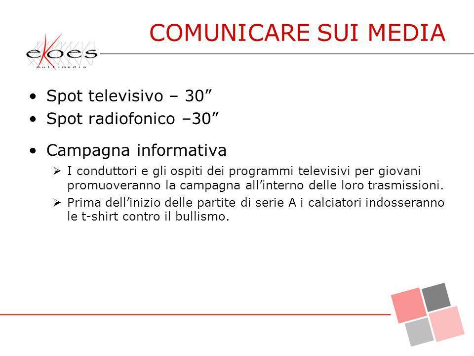 Spot televisivo – 30 Spot radiofonico –30 Campagna informativa I conduttori e gli ospiti dei programmi televisivi per giovani promuoveranno la campagn