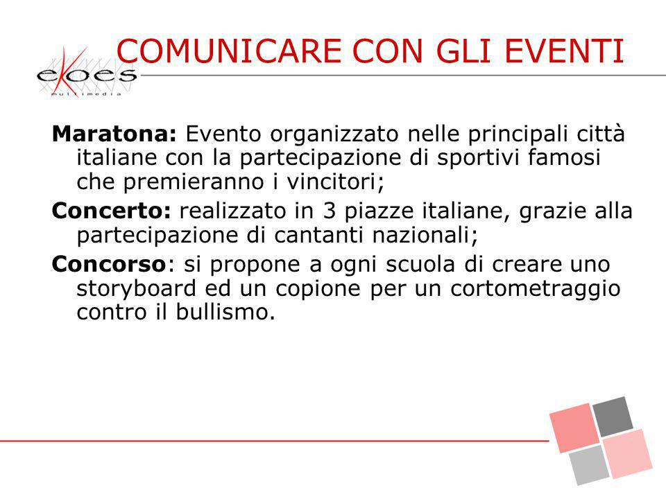 Maratona: Evento organizzato nelle principali città italiane con la partecipazione di sportivi famosi che premieranno i vincitori; Concerto: realizzat