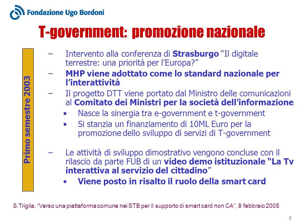 S.Trigila, Verso una piattaforma comune nei STB per il supporto di smart card non CA, 8 febbraio 2005 5 T-government: promozione nazionale –Intervento alla conferenza di Strasburgo Il digitale terrestre: una priorità per lEuropa.