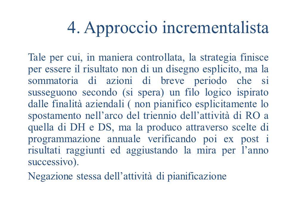 4. Approccio incrementalista Tale per cui, in maniera controllata, la strategia finisce per essere il risultato non di un disegno esplicito, ma la som
