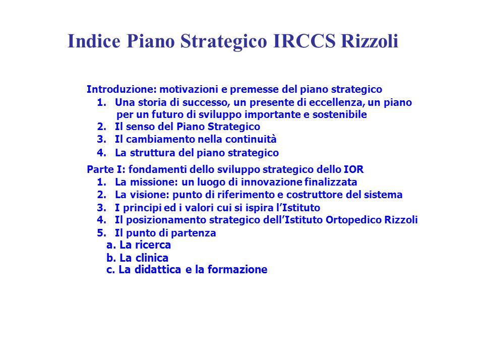 Indice Piano Strategico IRCCS Rizzoli Introduzione: motivazioni e premesse del piano strategico 1. Una storia di successo, un presente di eccellenza,