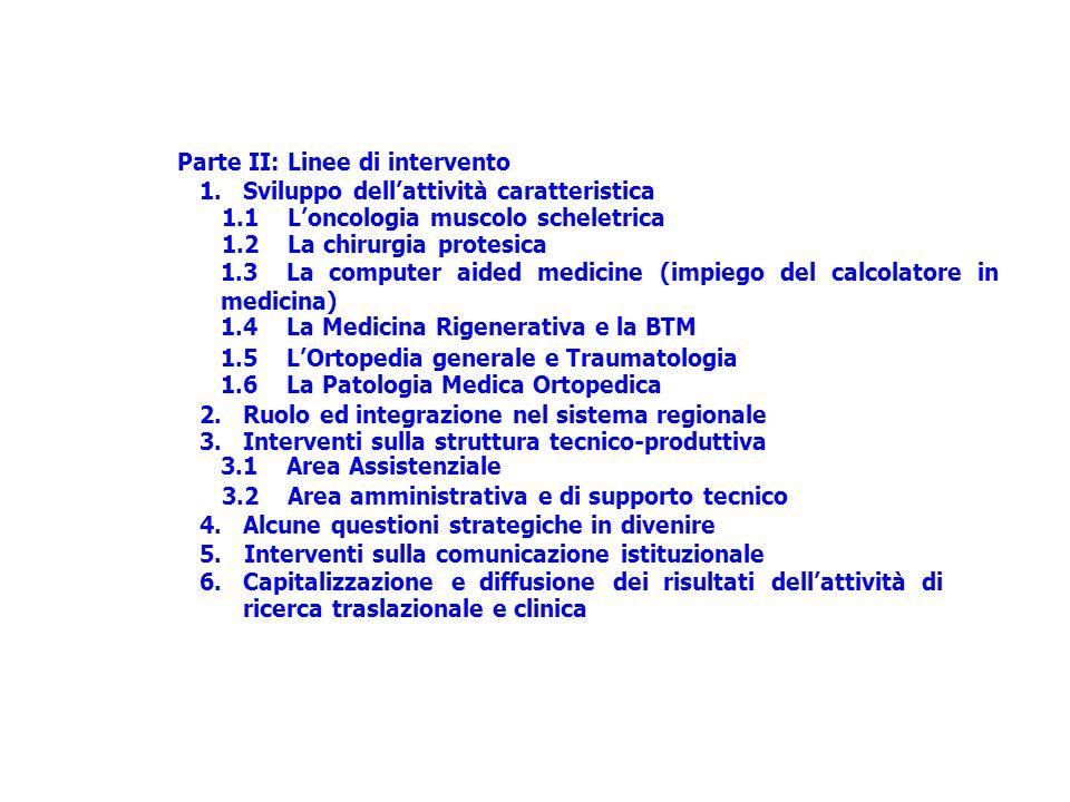 5. 6. Parte II: Linee di intervento 1. Sviluppo dellattività caratteristica 1.1 Loncologia muscolo scheletrica 1.2 La chirurgia protesica 1.3 La compu