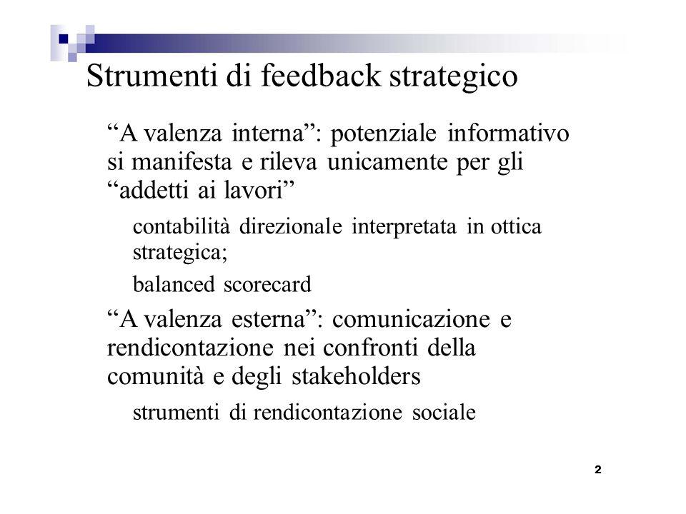 Strumenti di feedback strategico A valenza interna: potenziale informativo si manifesta e rileva unicamente per gli addetti ai lavori contabilità dire