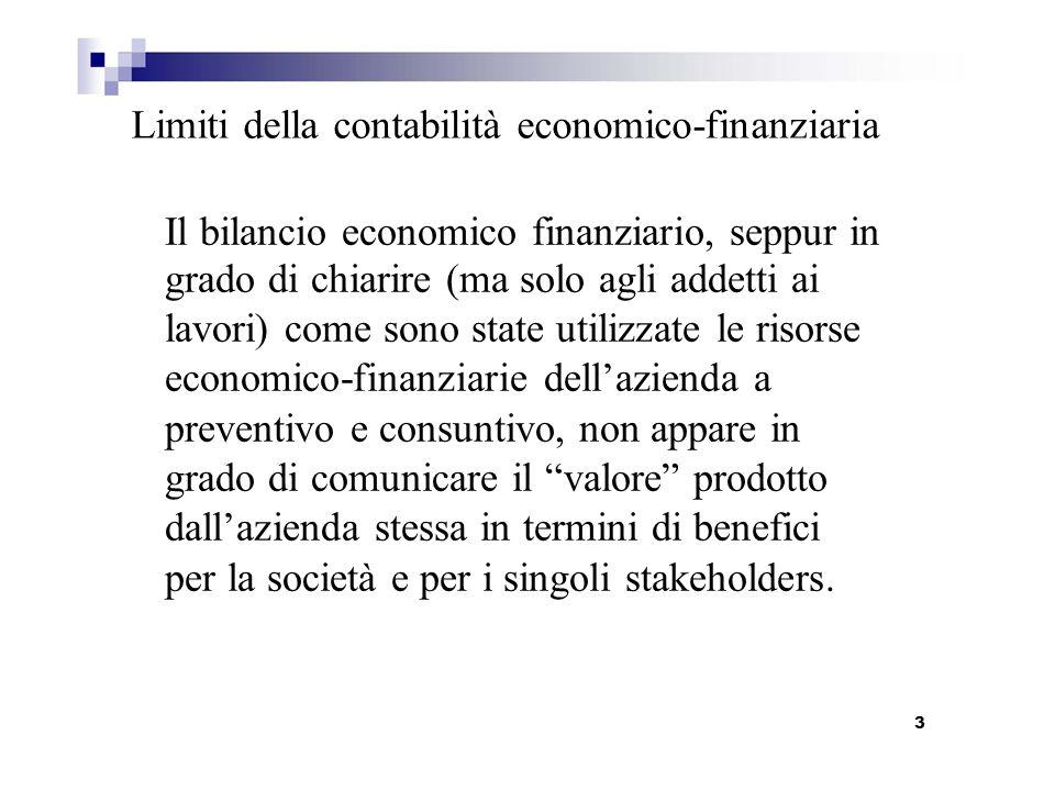Limiti della contabilità economico-finanziaria Il bilancio economico finanziario, seppur in grado di chiarire (ma solo agli addetti ai lavori) come so