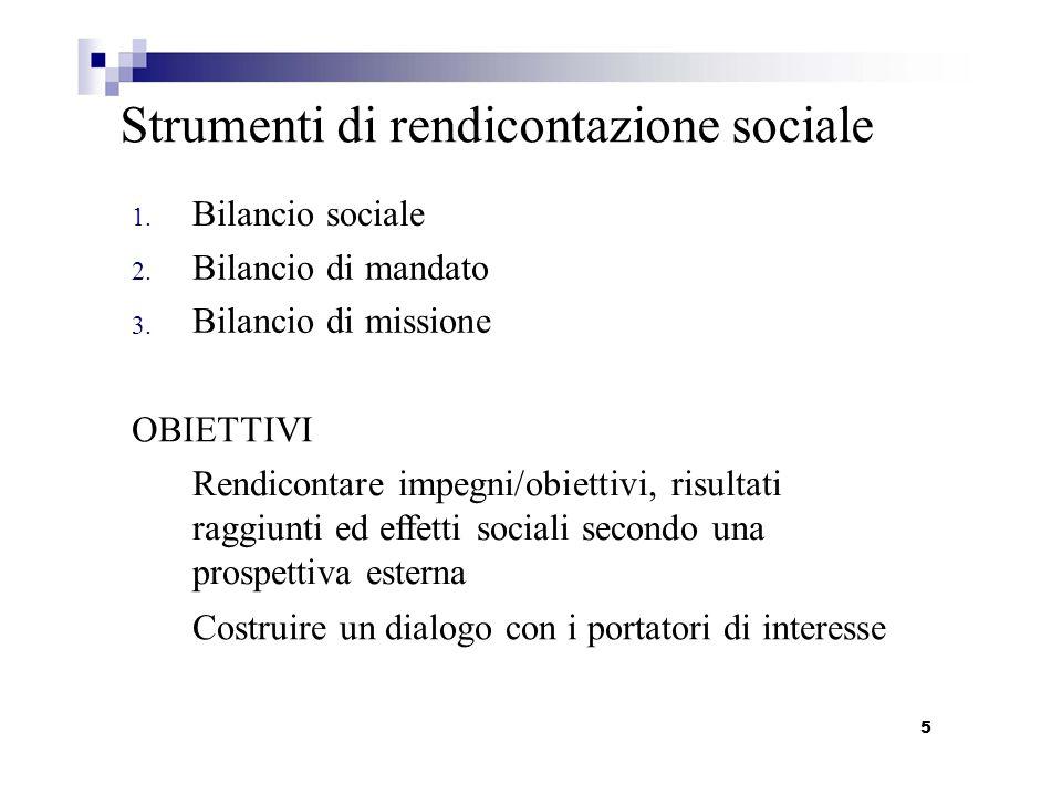 1. 2. 3. Strumenti di rendicontazione sociale Bilancio sociale Bilancio di mandato Bilancio di missione OBIETTIVI Rendicontare impegni/obiettivi, risu