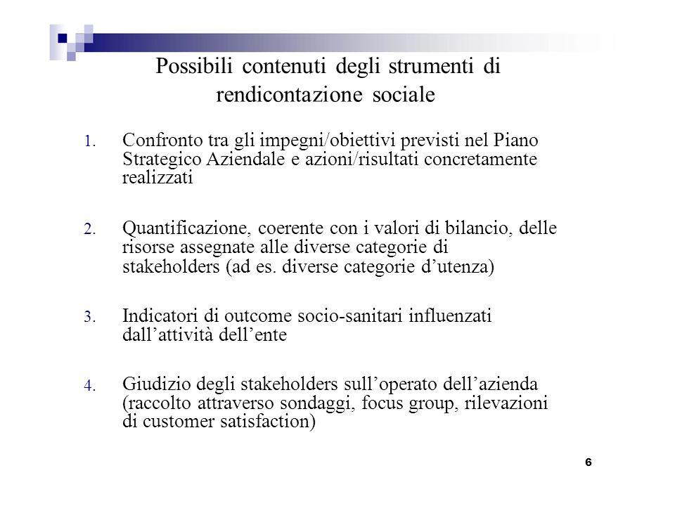 1. 2. 3. 4. Possibili contenuti degli strumenti di rendicontazione sociale Confronto tra gli impegni/obiettivi previsti nel Piano Strategico Aziendale