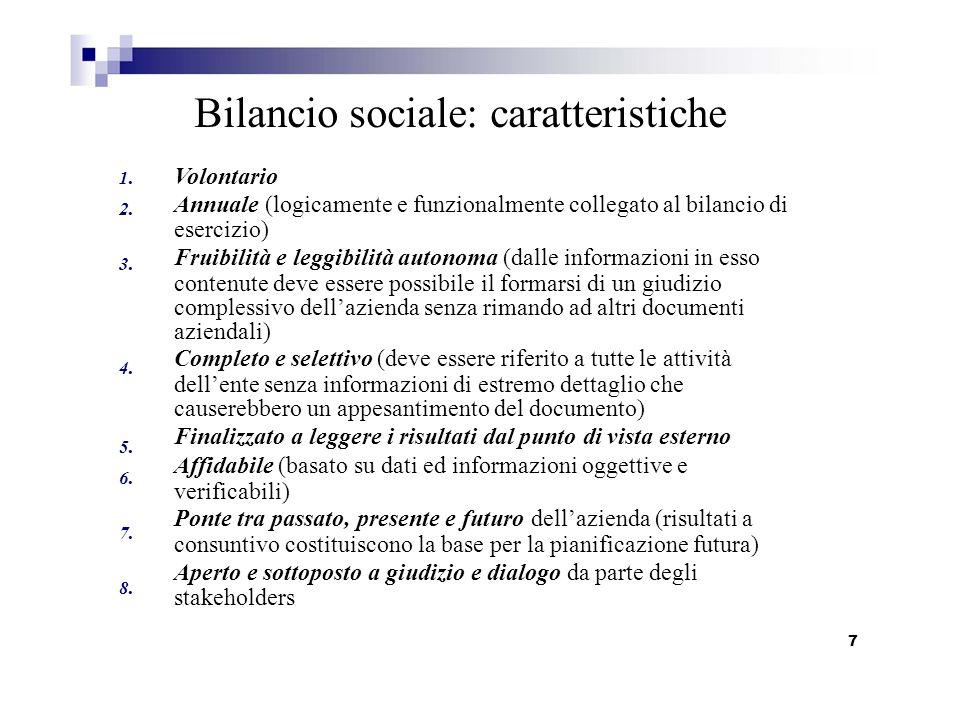 2. 3. 4. 5. 6. 7. 8. Bilancio sociale: caratteristiche 1. Volontario Annuale (logicamente e funzionalmente collegato al bilancio di esercizio) Fruibil