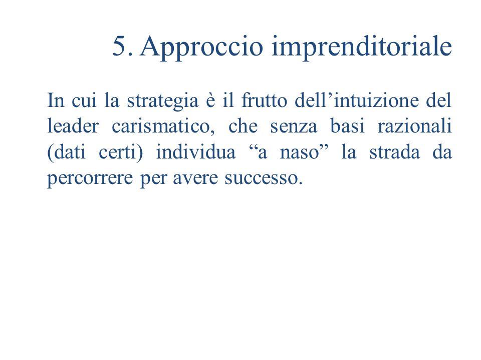 5. Approccio imprenditoriale In cui la strategia è il frutto dellintuizione del leader carismatico, che senza basi razionali (dati certi) individua a