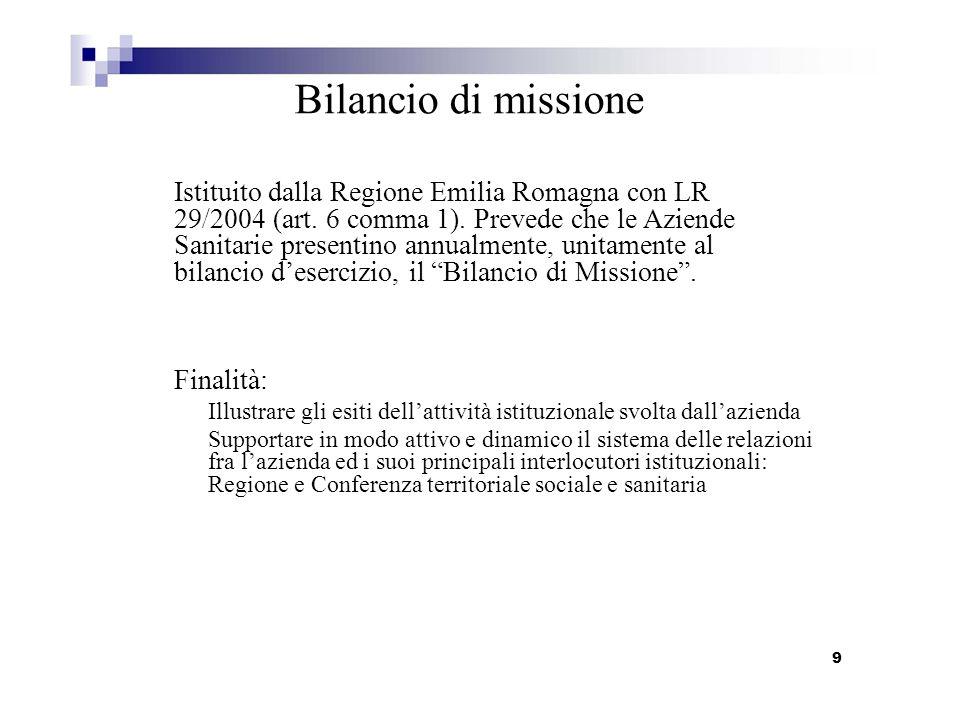 Bilancio di missione Istituito dalla Regione Emilia Romagna con LR 29/2004 (art. 6 comma 1). Prevede che le Aziende Sanitarie presentino annualmente,