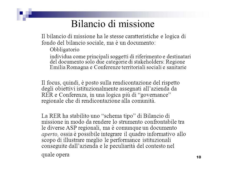 Bilancio di missione Il bilancio di missione ha le stesse caratteristiche e logica di fondo del bilancio sociale, ma è un documento: Obbligatorio indi