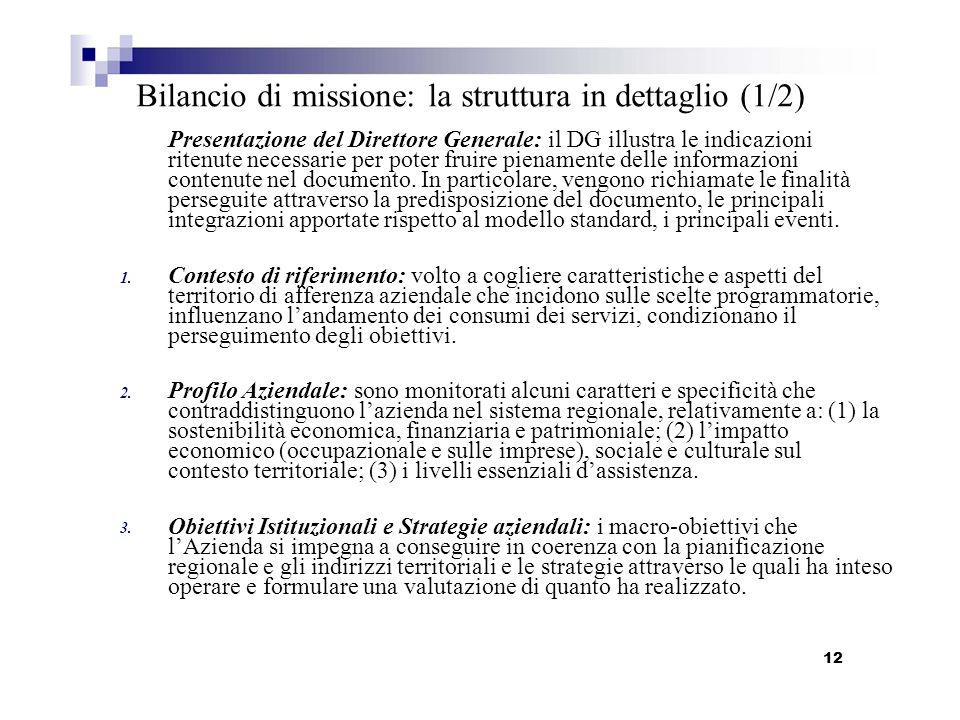 1. 2. 3. Bilancio di missione: la struttura in dettaglio (1/2) Presentazione del Direttore Generale: il DG illustra le indicazioni ritenute necessarie