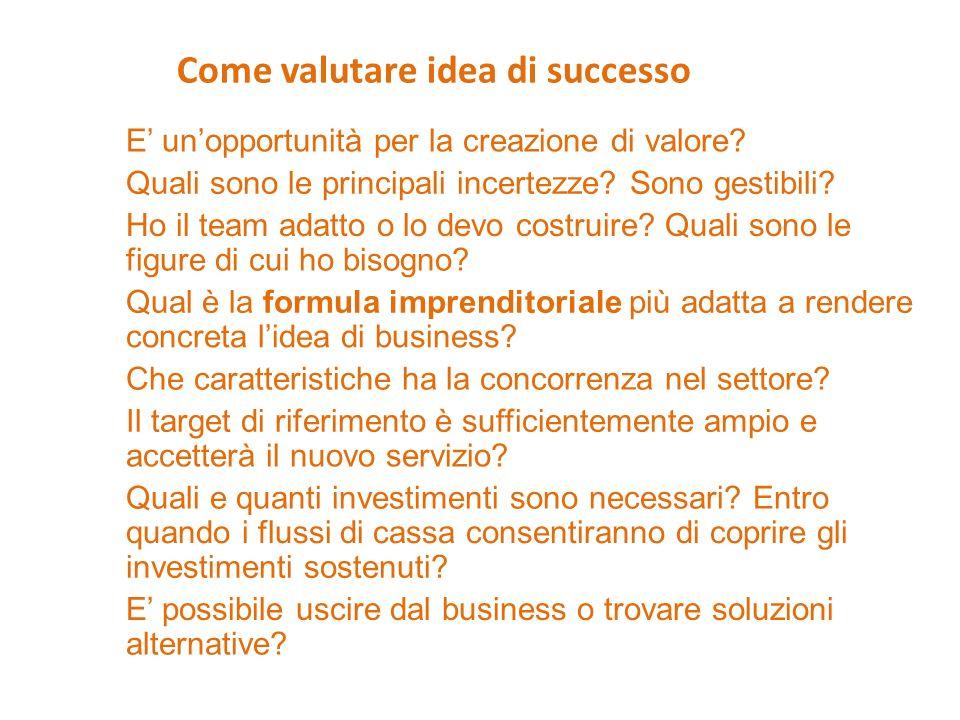 Come valutare idea di successo E unopportunità per la creazione di valore? Quali sono le principali incertezze? Sono gestibili? Ho il team adatto o lo