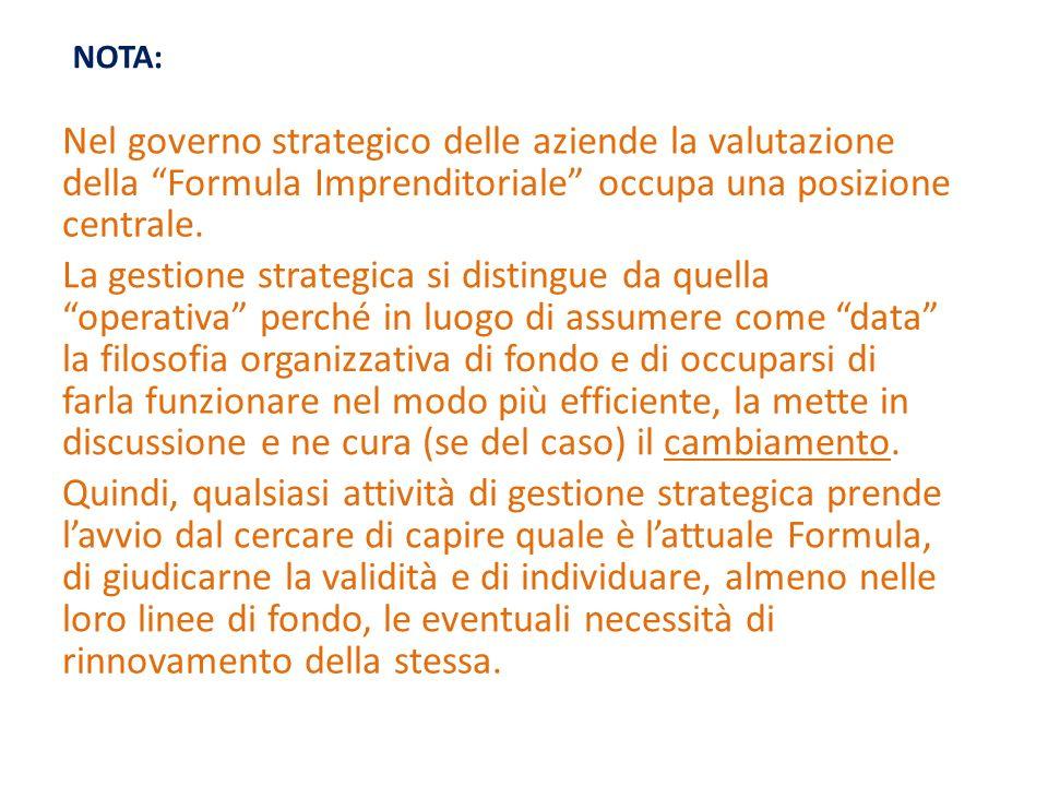Nel governo strategico delle aziende la valutazione della Formula Imprenditoriale occupa una posizione centrale. La gestione strategica si distingue d