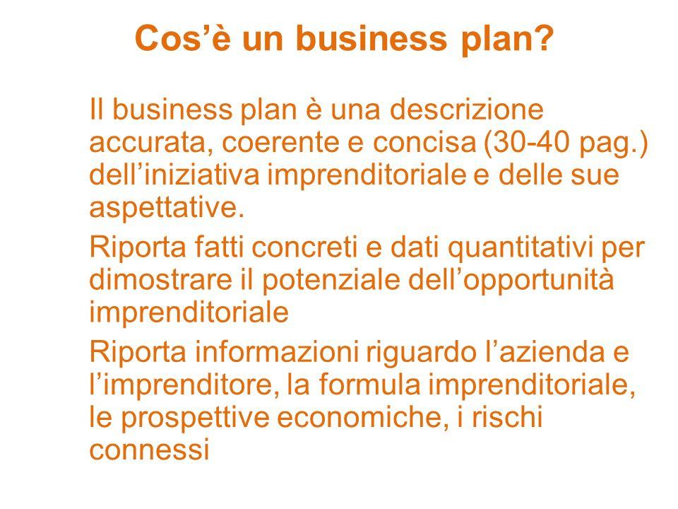 Cosè un business plan? Il business plan è una descrizione accurata, coerente e concisa (30-40 pag.) delliniziativa imprenditoriale e delle sue aspetta