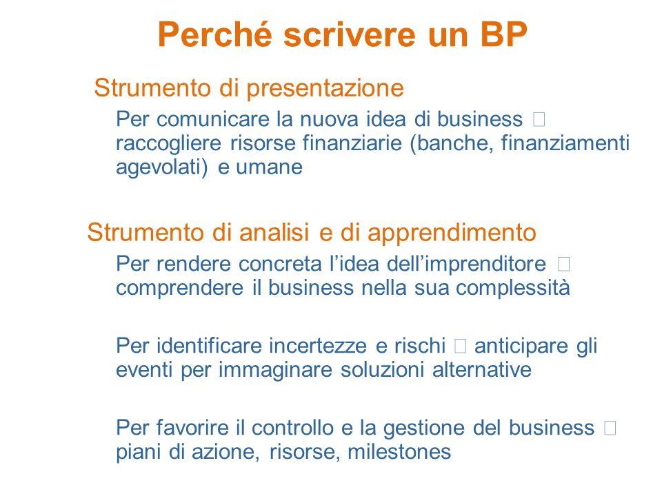 Perché scrivere un BP Strumento di presentazione Per comunicare la nuova idea di business raccogliere risorse finanziarie (banche, finanziamenti agevo
