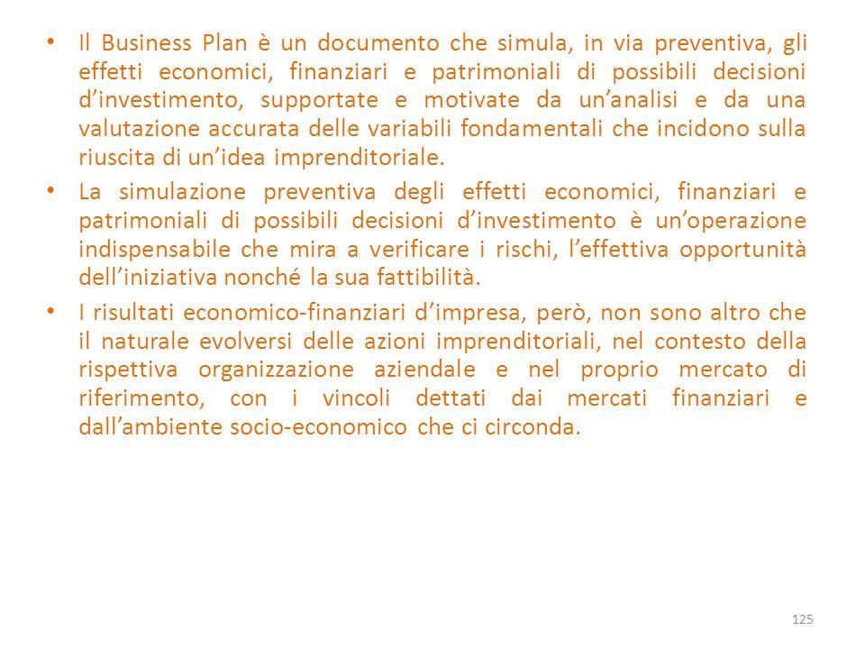 Il Business Plan è un documento che simula, in via preventiva, gli effetti economici, finanziari e patrimoniali di possibili decisioni dinvestimento,