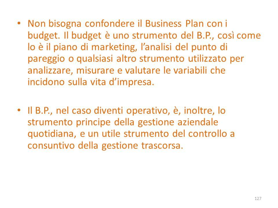 Non bisogna confondere il Business Plan con i budget. Il budget è uno strumento del B.P., così come lo è il piano di marketing, lanalisi del punto di