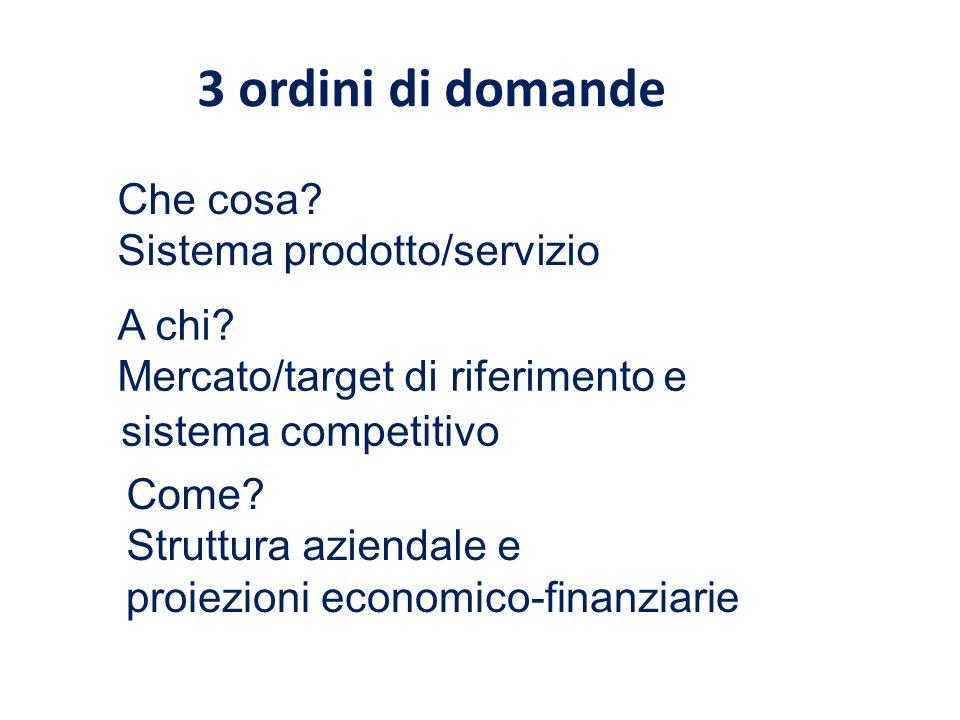 3 ordini di domande Che cosa? Sistema prodotto/servizio A chi? Mercato/target di riferimento e sistema competitivo Come? Struttura aziendale e proiezi