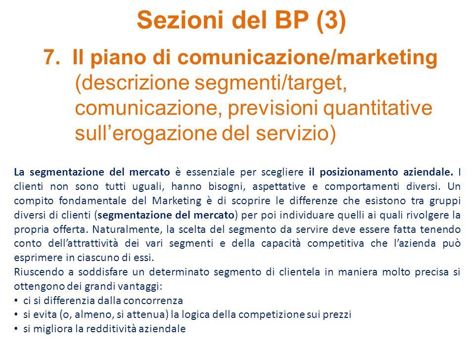 Sezioni del BP (3) 7. Il piano di comunicazione/marketing (descrizione segmenti/target, comunicazione, previsioni quantitative sullerogazione del serv
