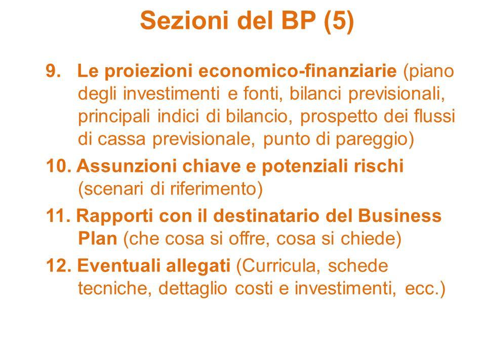 Sezioni del BP (5) 9. Le proiezioni economico-finanziarie (piano degli investimenti e fonti, bilanci previsionali, principali indici di bilancio, pros